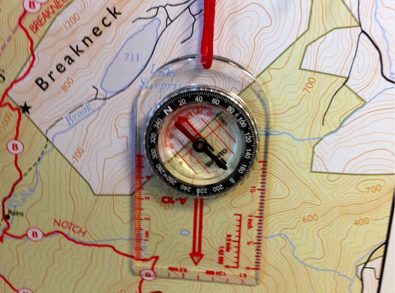 A map and a compass