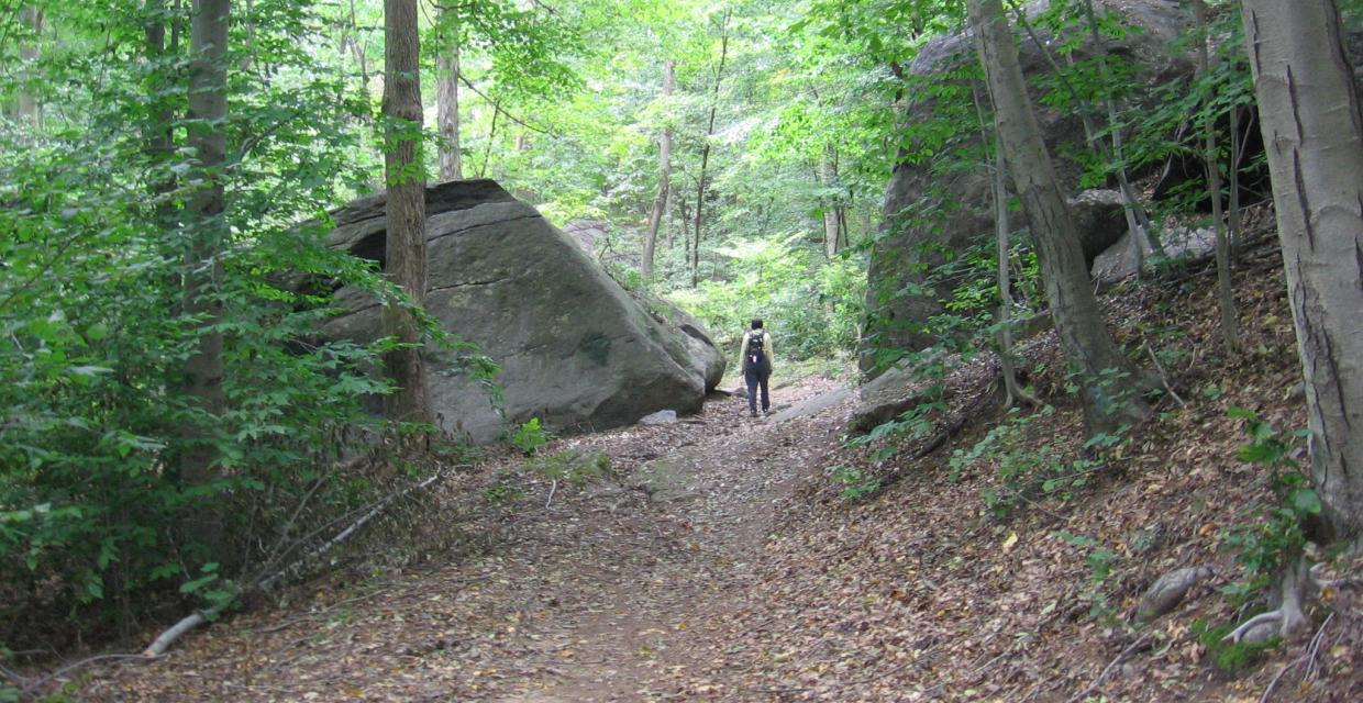 Hiker walking between two massive rocks at Saxon Woods -  Photo: Jane Daniels