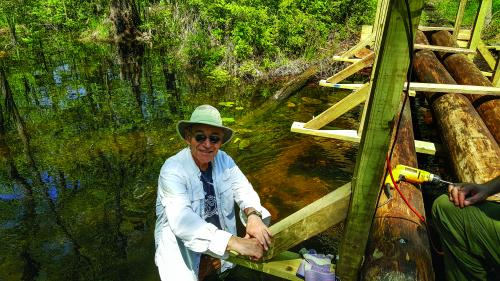 Trail Conference member Bob Gurian worked on the Crom Pond bridge. Photo credit: Jane Daniels.