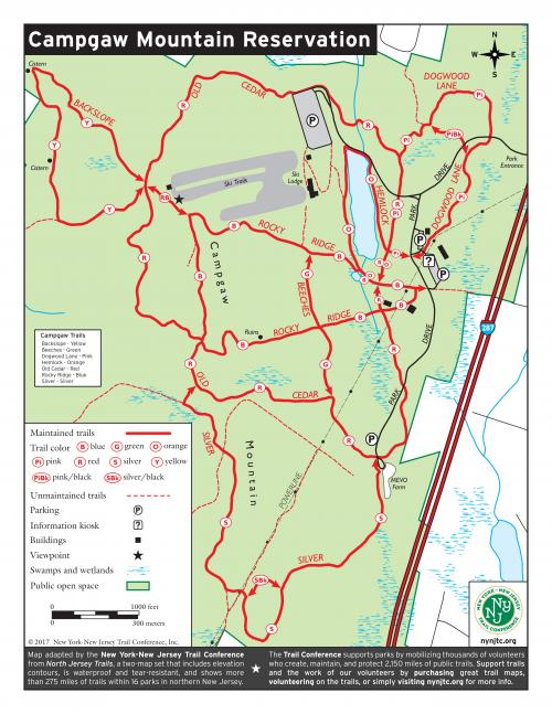 Campgaw Mountain Reservation Map