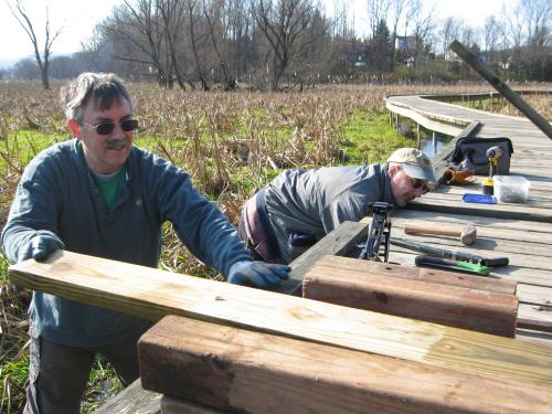 West Jersey Trail Crew Leader David Day and Pete working on the Appalachian Trail Pochuck Boardwalk.