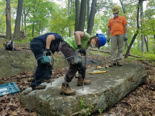 Megalithic Trail Crew working on the Appalachian Trail reroute on Bear Mountain. Photo by Eduardo Gill.