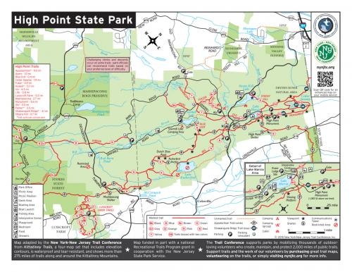 High Point State Park Map | New York-New Jersey Trail Conference