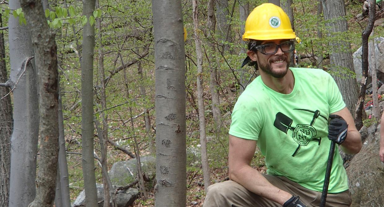 Trail Conference Conservation Corps member Tim Palumbo served on the Megalithic Trail Crew in 2016. Photo by Ashtyn Elizondo.