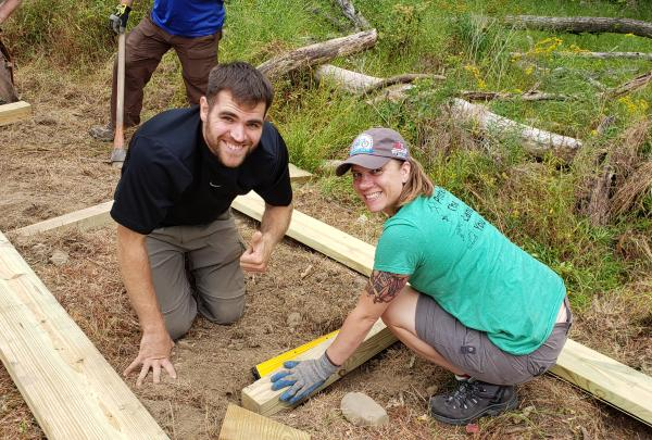 Building great trails together in Yorktown: Hiker Matt Dittman and biker Laura Kelly.
