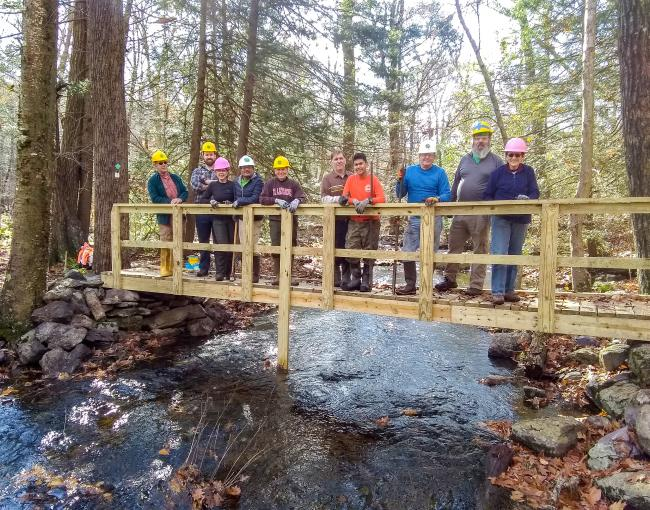 West Jersey Trail Crew works on the Two Brooks Trail in the Pequannock Watershed. Photo by David Day.