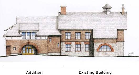 Rendering of Darlington Schoolhouse with addition with existing building