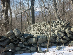 Stone walls along the Catfish Loop Trail with the Hudson Highlands visible. Photo by Daniel Chazin.
